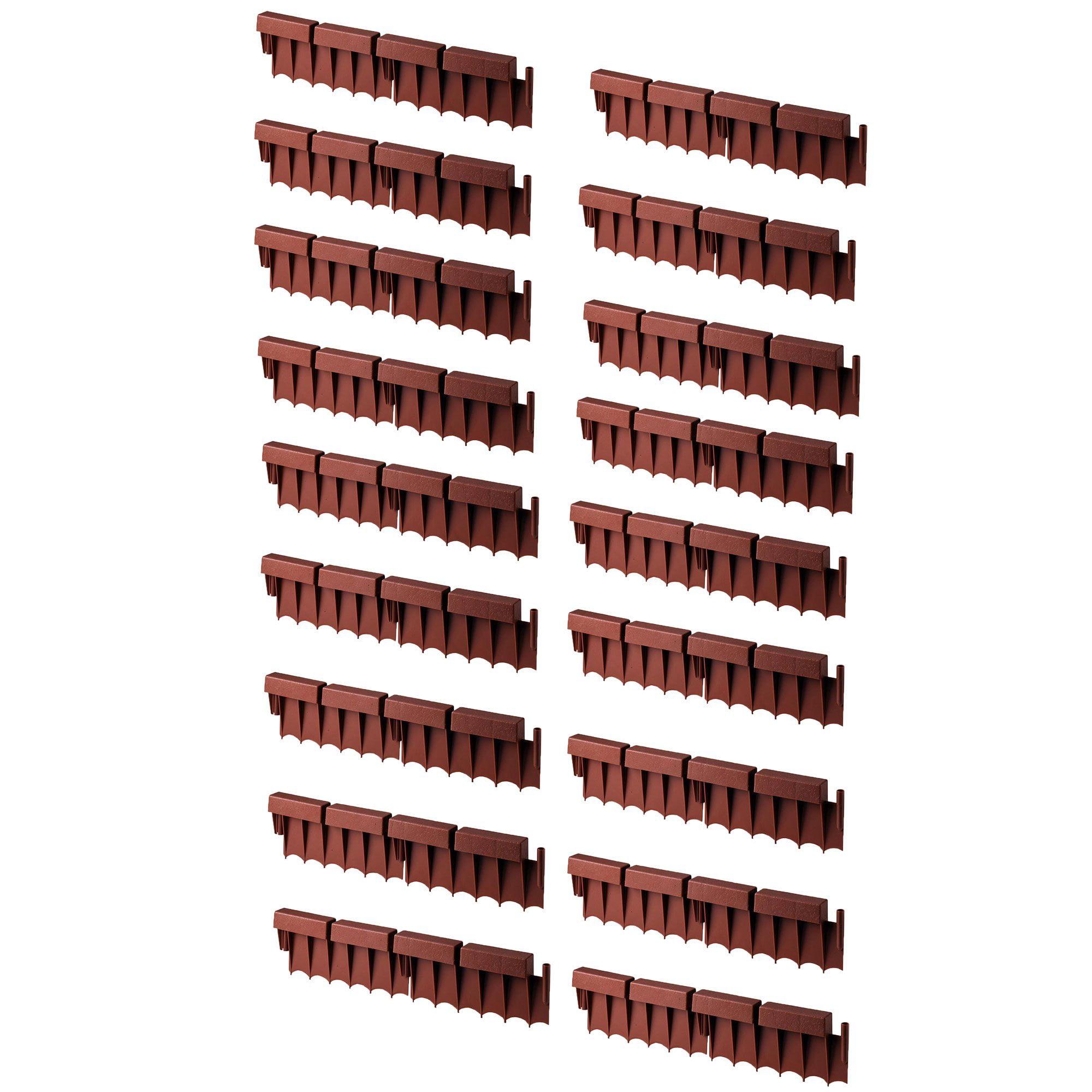 Suncast BBE10TC 10 Ft Interlocking Brick Border Edging, 12 In Section (20 Pack)
