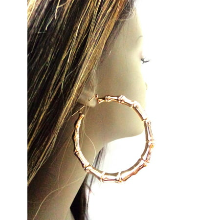 Bamboo Gold Hoop Earrings Round Plated 3 inch Hoops