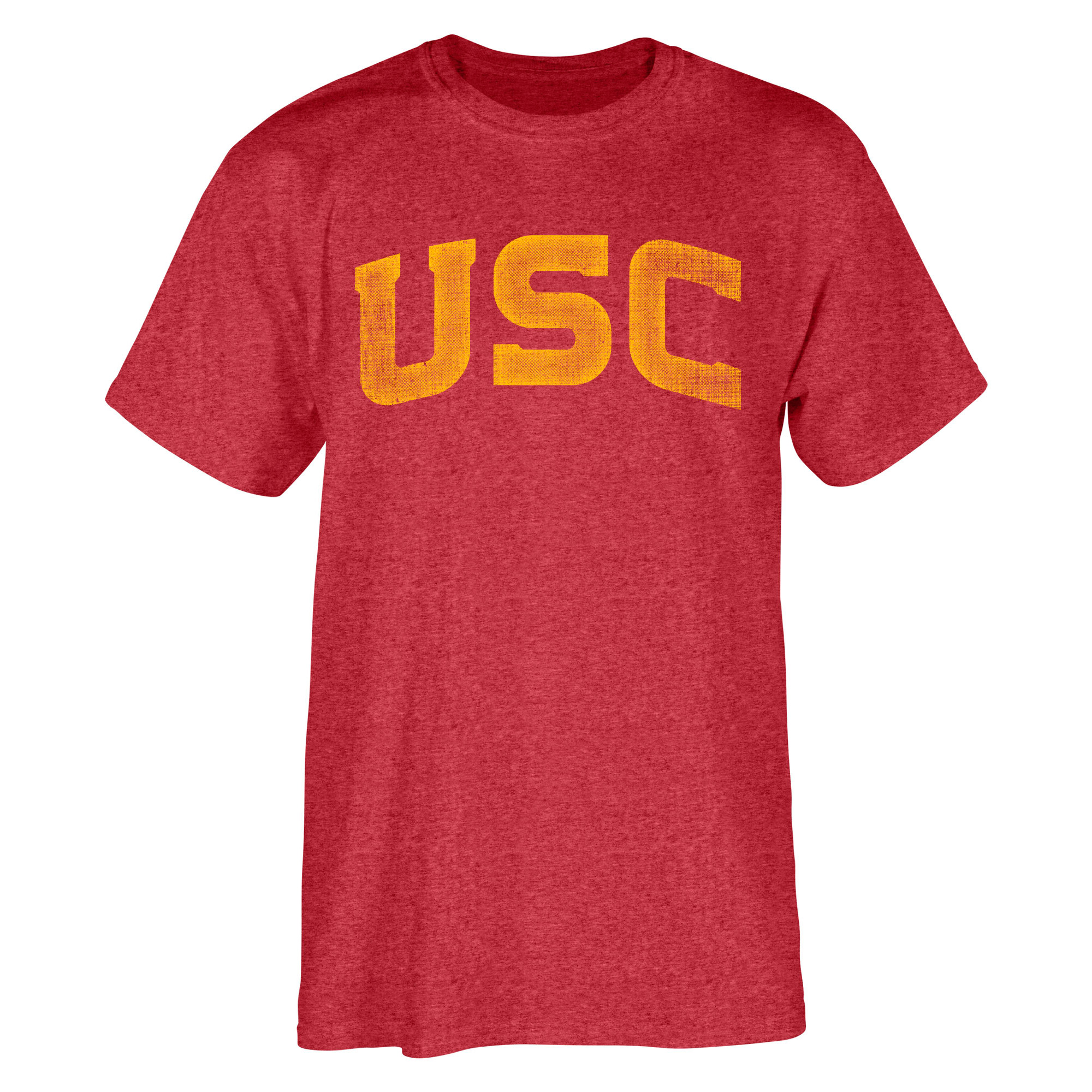 Men's Heathered Cardinal USC Trojans Distressed Arch T-Shirt