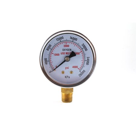 2.5 Inch Dial Gauge - High Pressure Gauge for Oxygen Regulator 0-4000 psi - 2.5 inches