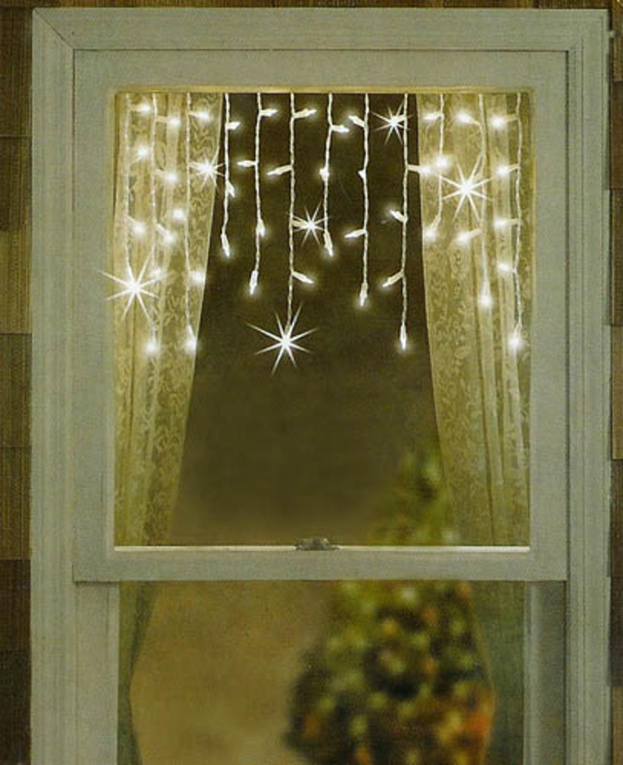 set of 50 twinkling shimmering clear window curtain icicle lights white wire walmartcom