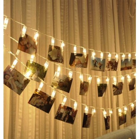 Battery-Operated Clip String Light (10 LED light, Runs on 2 AA batteries). Great for hanging photos, pictures;Total Length: 64