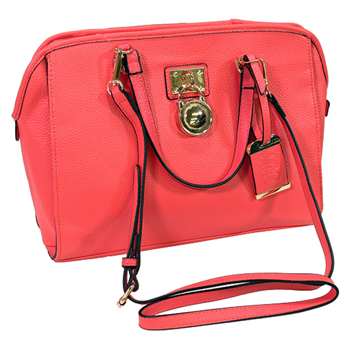 """Bulldog Cases Satchel Style Concealed Carry Purse w/ Holster- Coral (16"""" x 9.5"""" x 5.5"""")"""