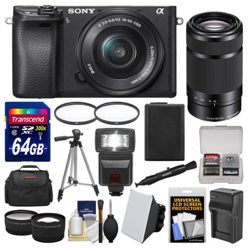 Sony Alpha A6300 4K Wi-Fi Digital Camera & 16-50mm with 55-210mm Lens + 64GB Card + Case + Flash + Battery & Charger + Tripod + Filters + Kit