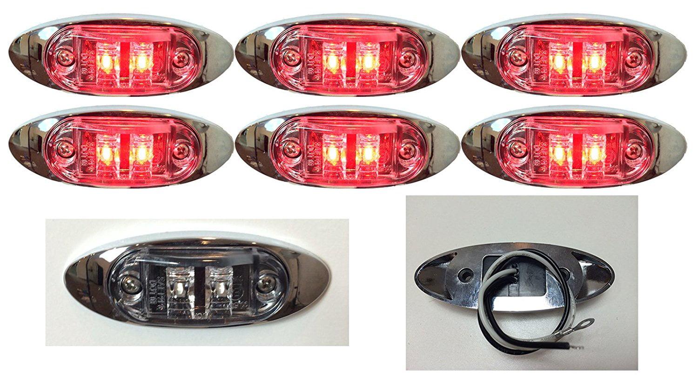 "2/"" Amber w Bezel LED Oblong Oval Clearance Side Marker Truck Trailer Light C"
