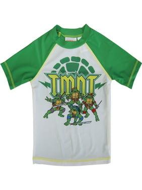 Nickelodeon Little Boys Green White TMNT Print Rash Guard Swimwear Shirt 2-4T