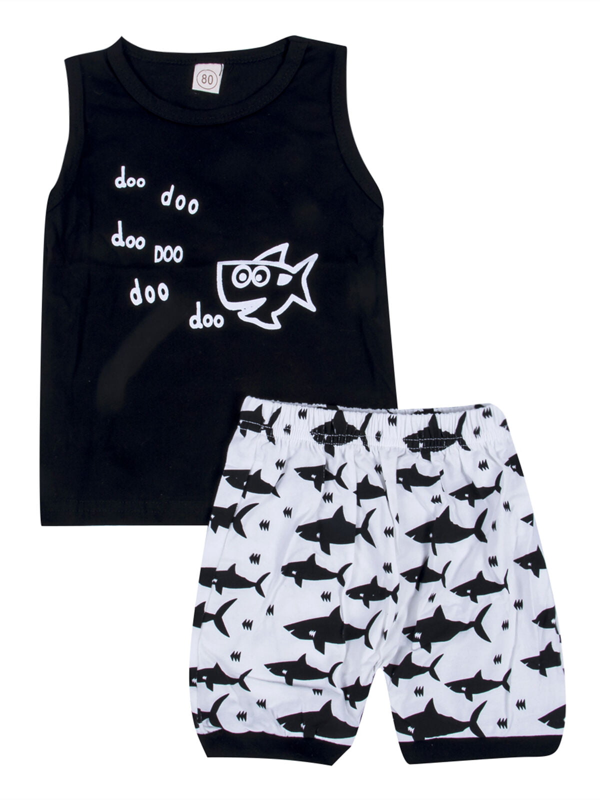 Short Pants Outfits Set Baby Boy Girl Clothes Summer Shark Doo Doo Print Cotton Short Sleeve T-Shirt Tops