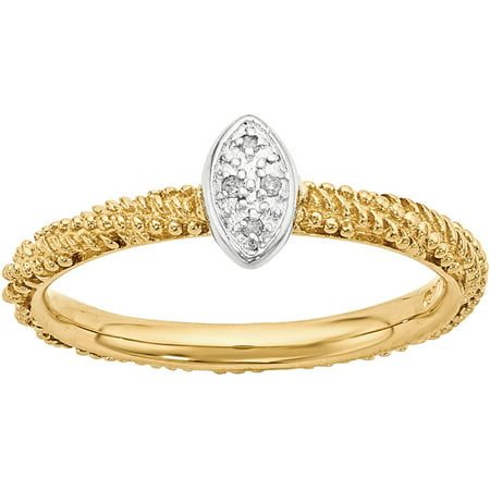 Stackable Expressions Diamond Sterling Silver Yellow Gold-Plated Ring
