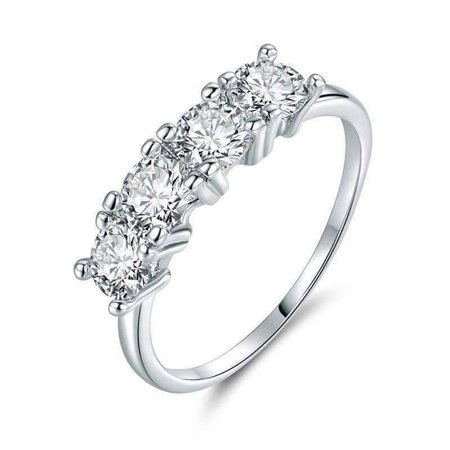 9 Stone Anniversary Band - ON SALE - Devotion Four Stone 1ct CZ Anniversary Band Ring 9 / White Gold