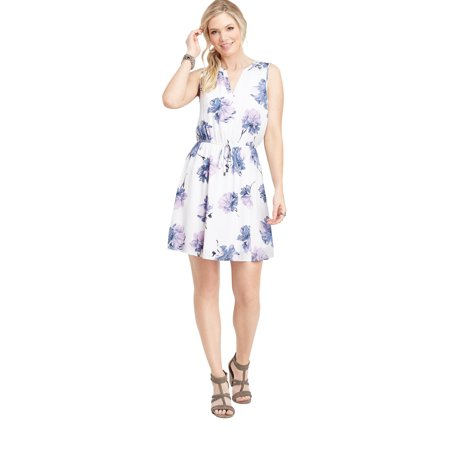 V-neck Tie Waist Dress - Floral V-Neck Tie Waist Dress