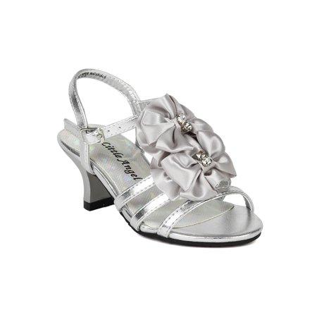 90b9adf2a5f6d Little Angel BA64 Metallic Open Toe Strappy Bow Ankle Strap Kiddie Heel  Sandal (Toddler  Little Girl  Big Girl) - Walmart.com