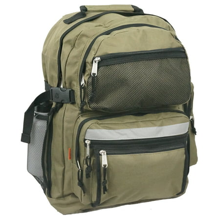 Large Backpack School Bag Book Bag with Free water bottle 19 Inches Olive 19 x 13 x 8