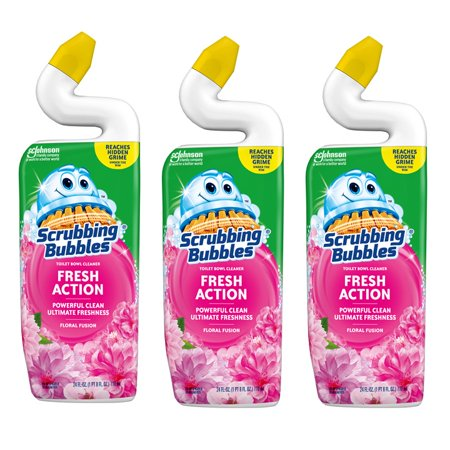 (3 pack) Scrubbing Fresh Action Toilet Bowl Clean, Floral Fusion - Powerful Clean and Ultimate Freshness (1 Squeeze Bottle), 24 oz