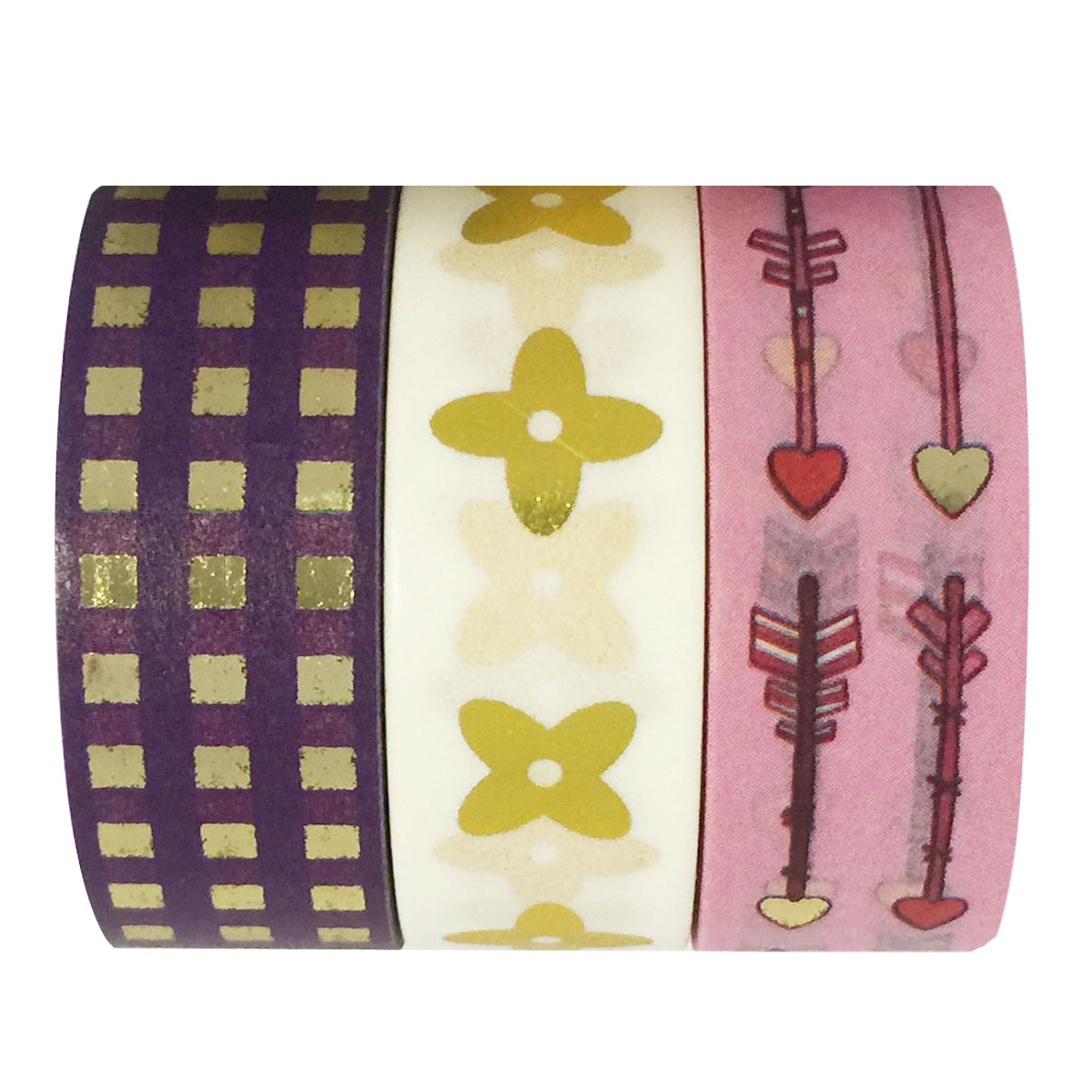 Wrapables® Young Love Metallic Foil Washi Masking Tape (set of 3), 10M L x 15mm W