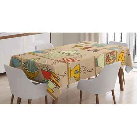 Tea Tablecloth, Ornamental Teapots Cups Old Fashioned Stylized Afternoon Kitchen British Tradition Art, Rectangular Table Cover for Dining Room Kitchen, 60 X 84 Inches, Multicolor, by (Table Setting Ideas For British Afternoon Tea)