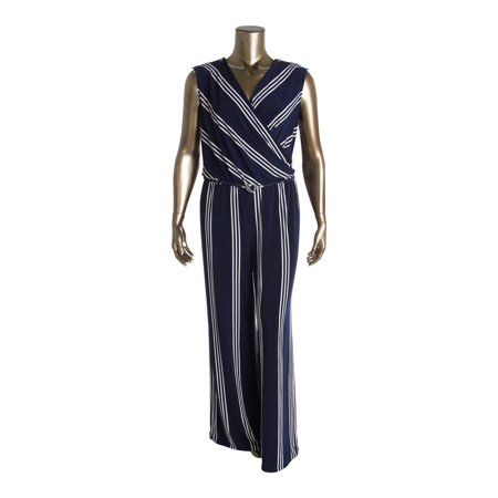 d3e76f8622ba Lauren Ralph Lauren - Lauren Ralph Lauren Womens Plus Striped Sleeveless  Jumpsuit - Walmart.com