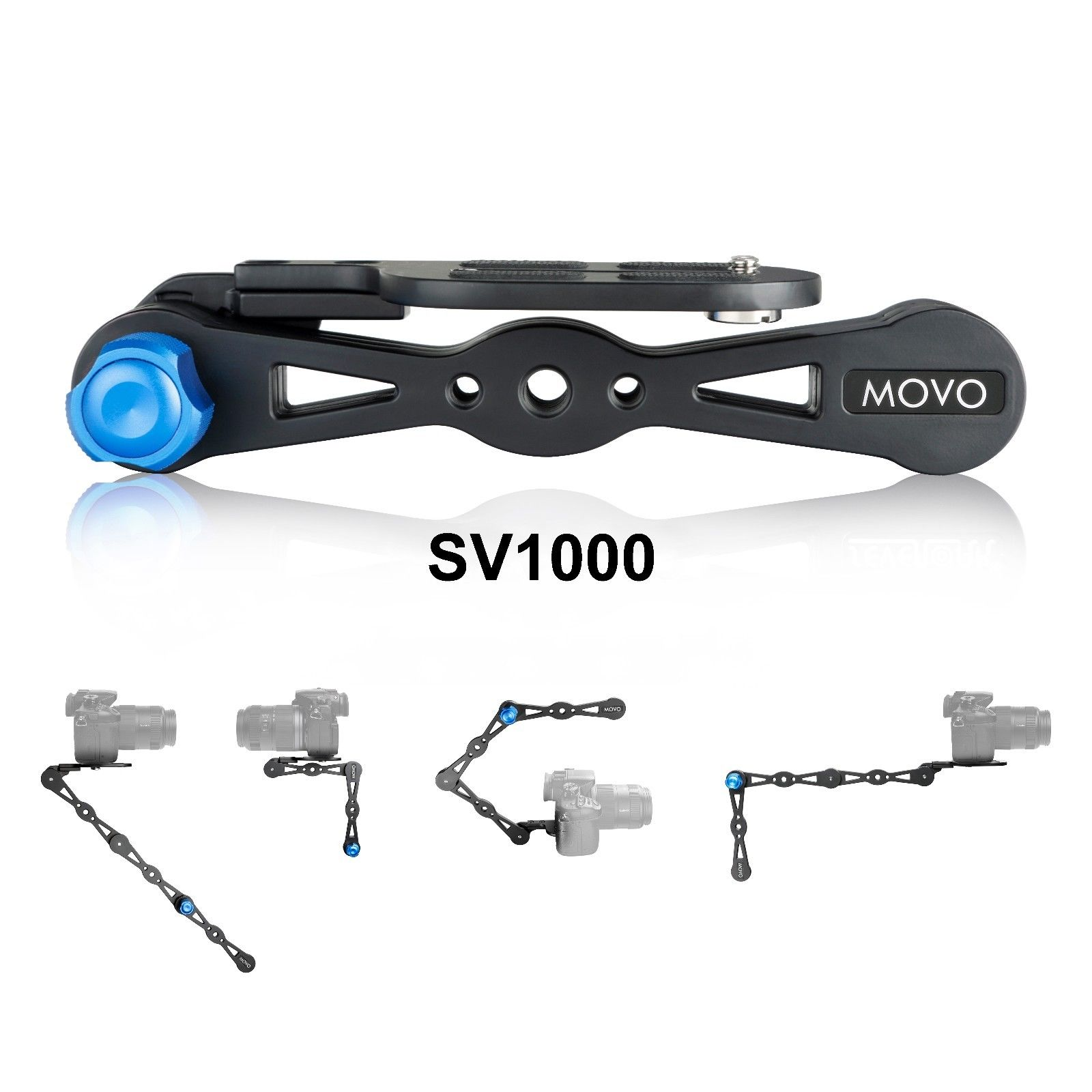 Movo Photo SV1000 Aluminum Combination Shoulder Rig / Selfie Stick / Handheld Stabilizer / Video Grip - For all Cameras up to 9 lbs/4kg