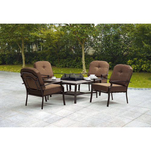 Mainstays Wentworth 5 Piece Patio Conversation Set With Fire Pit, Seats 4