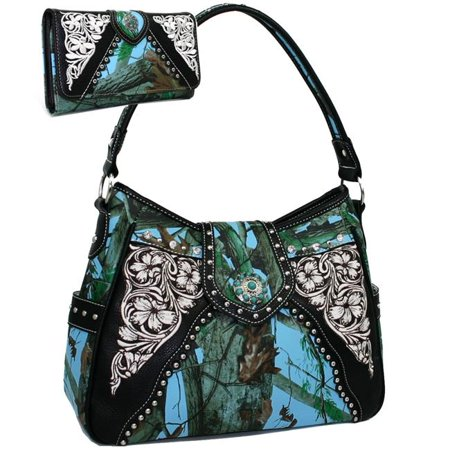 BT923SET-Blu - Cam Western Turquoise Concho Accented Handbag Purse with Matching Wallet - Blue & Cam
