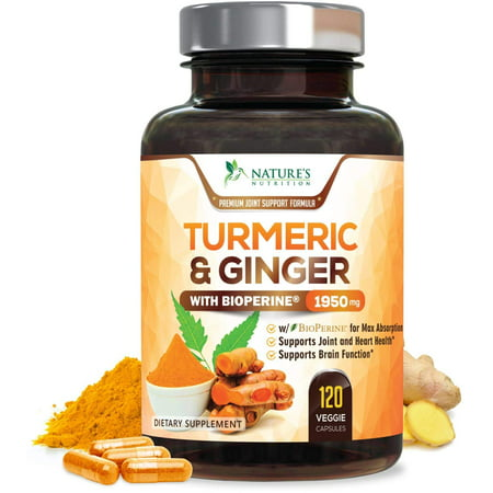 - Turmeric Curcumin with Ginger 95% Curcuminoids 1950mg with Bioperine Black Pepper for Best Absorption, Anti-Inflammatory Joint Relief, Turmeric Supplement Pills by Natures Nutrition -  120 Capsules