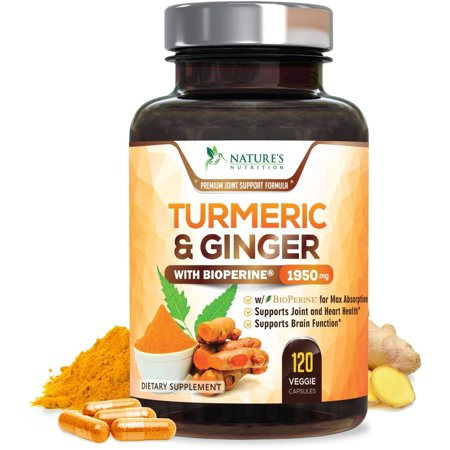 Turmeric Curcumin with Ginger 95% Curcuminoids 1950mg with Bioperine Black Pepper for Best Absorption, Anti-Inflammatory Joint Relief, Turmeric Supplement Pills by Natures Nutrition -  120