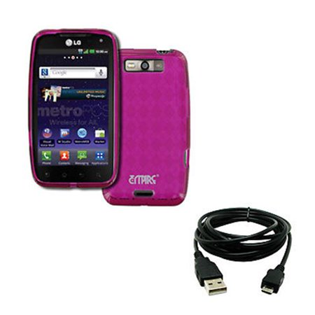 - EMPIRE LG Connect 4G MS840 Poly Skin Case Cover (Hot Pink Diamond Pattern) + 8' USB 2.0 Data Cable [EMPIRE Packaging]
