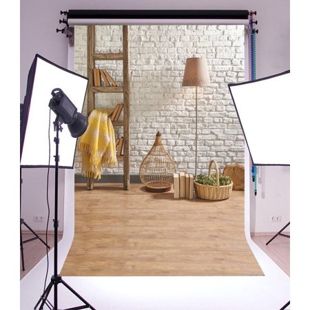 Cage Carpet - HelloDecor Polyester 5x7ft Photography Backdrop Interior Wood Ladder Books Carpet Birdcage Lamp Basket Green Plants Whitewashed Brick Wallpaper Rustic Wooden Pl