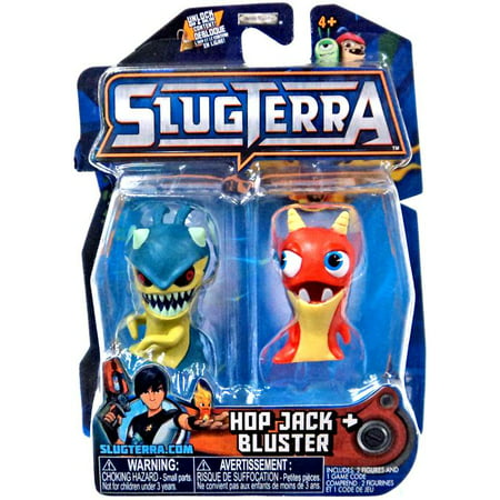 Hop Jack & Bluster Mini Figure 2-Pack Includes Code for Exclusive Game Items Slug Terra mini figure 2-pack Hop Jack & Bluster. Includes 2 Slugterra minifigures & 1 online redemption code for exclusive in game items. Official Jakks Pacific Slugterra toy.