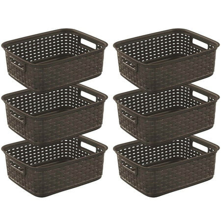 Sterilite Decorative Wicker-Style Short Weave Basket, Espresso 12726P06 (6 Pack) ()