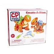 Constructive Playthings Create-A-Dino Building Set - T-Rex and Stegosaurus - Encourage Creativity, Spacial Skills and Complex Thinking - Comes with Electronic Drill and Screwdriver - BPA and PVC Free