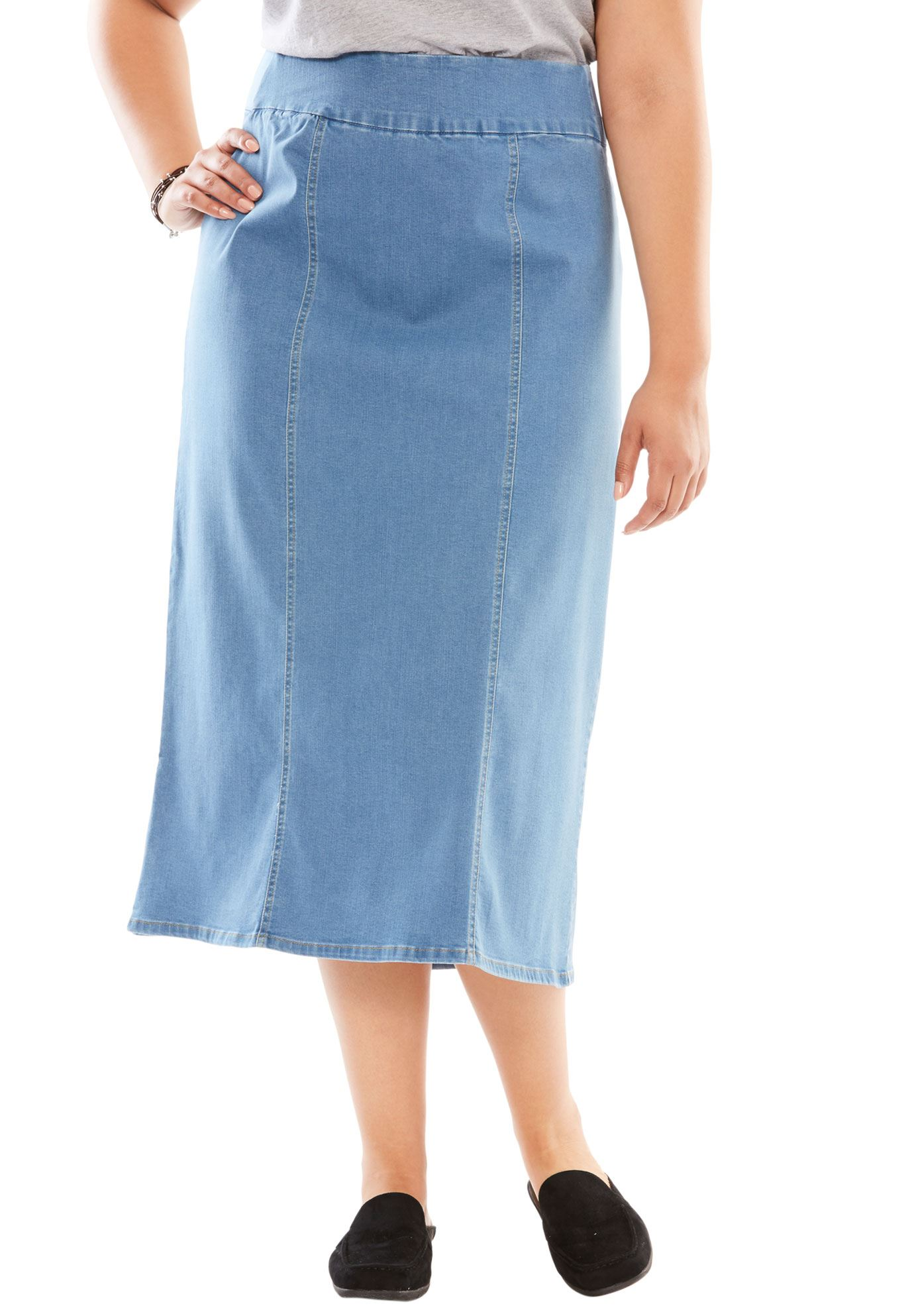 Woman Within Plus Size Smooth Waist A-line Denim Skirt