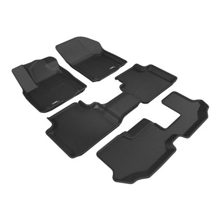 3D Maxpider L1VW08401509 Kagu Floor Mat for 2018 Volkswagen Atlas R1 R2 R3, Black - image 1 of 1