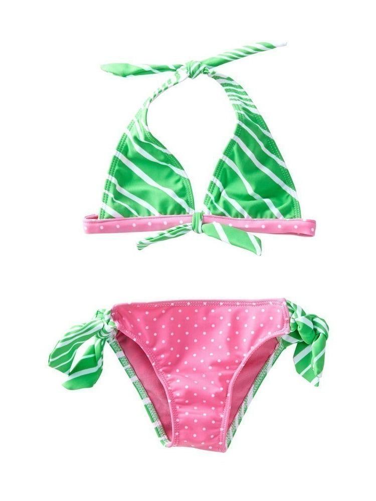 Azul Girls Green Pink Candy Crush Halter Tie 2 Pc Bikini Swimsuit