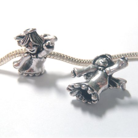 - 3 Beads - Large Angel Christmas Silver European Bead Charm E1315