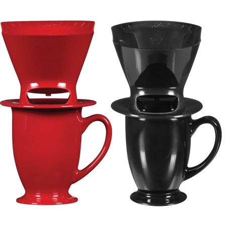 Melitta Pour Over One Cup Ceramic Coffeemaker, Assorted Red or Black ()