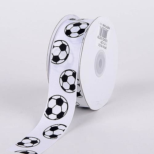 BBCrafts 5/8 inch x 25 Yards Grosgrain Sports Design Ribbon Decoration Wedding Party (Soccer), Ship in 1 Business Day. By Generic