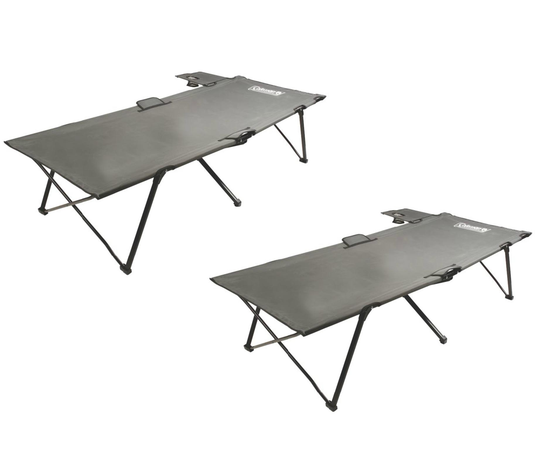 Click here to buy (2) COLEMAN Portable Camping Twin PackAway Cots w  Removable Table & Cup Holder by COLEMAN.