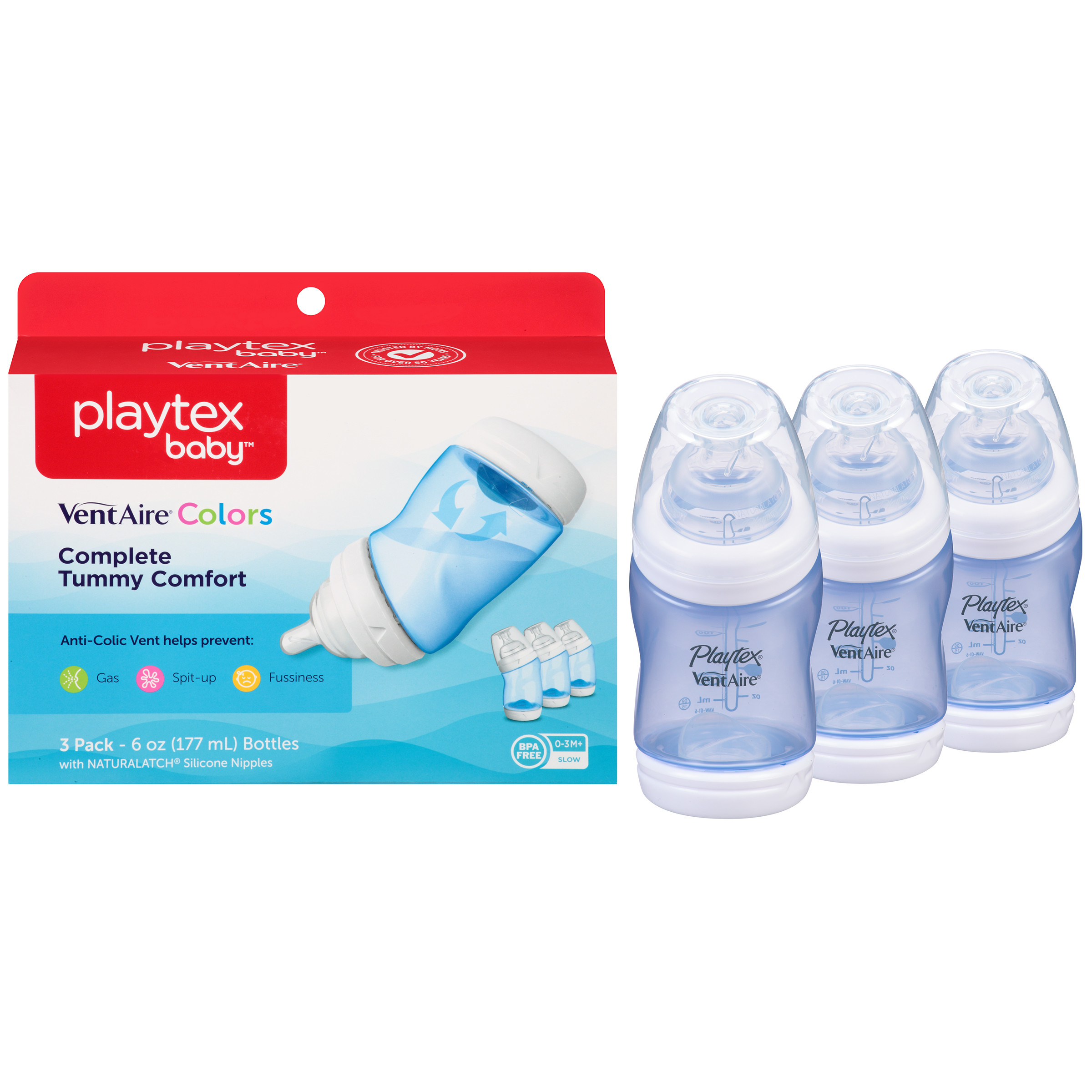 Playtex Baby VentAire Complete Tummy Comfort 6oz 3-Pack Blue Baby Bottle