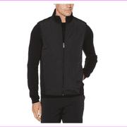 Perry Ellis Men's Fleece Full Zip Vest, Black, 3X