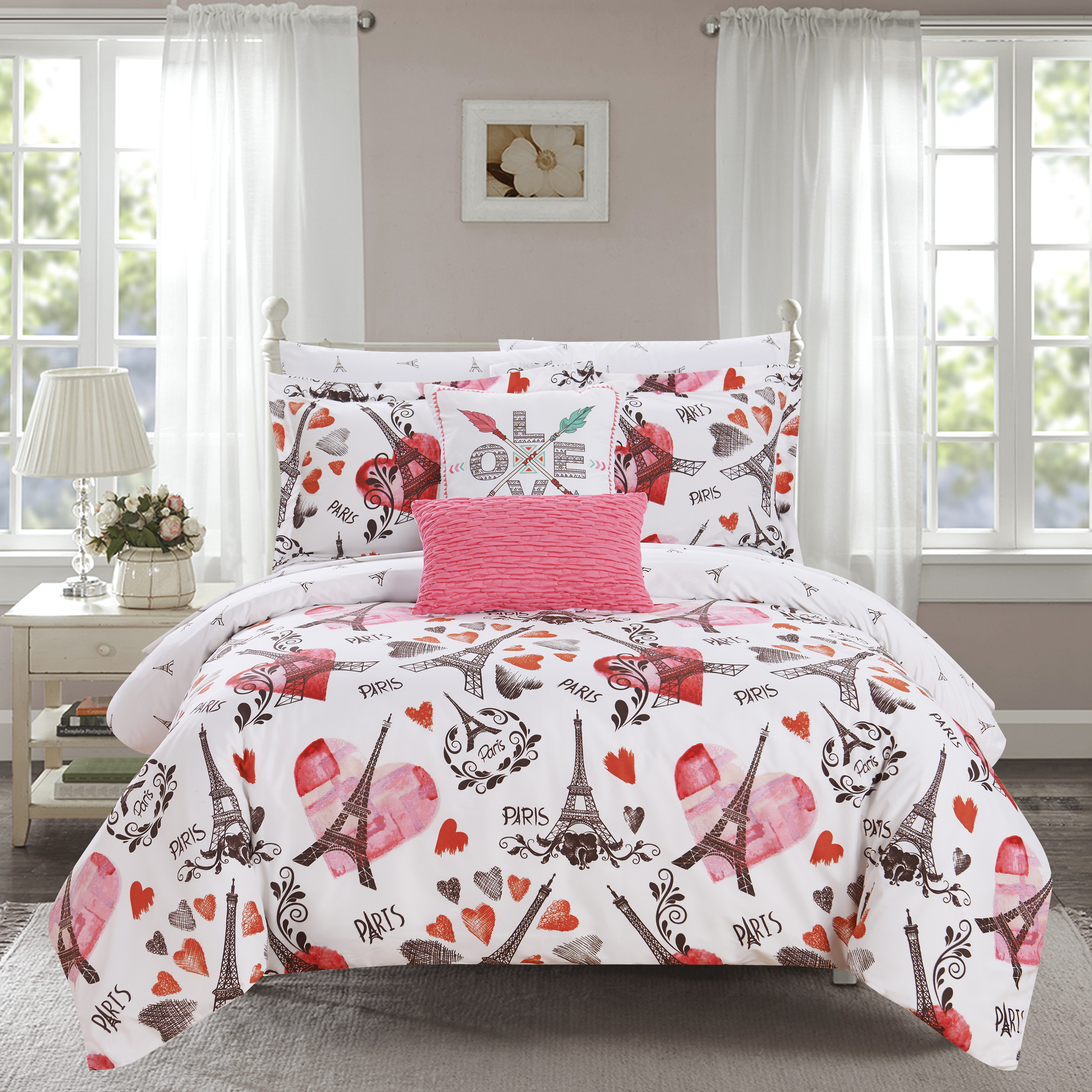 "Chic Home Marais 9 Piece Reversible ""Paris Is Love"" Design Comforter Set"