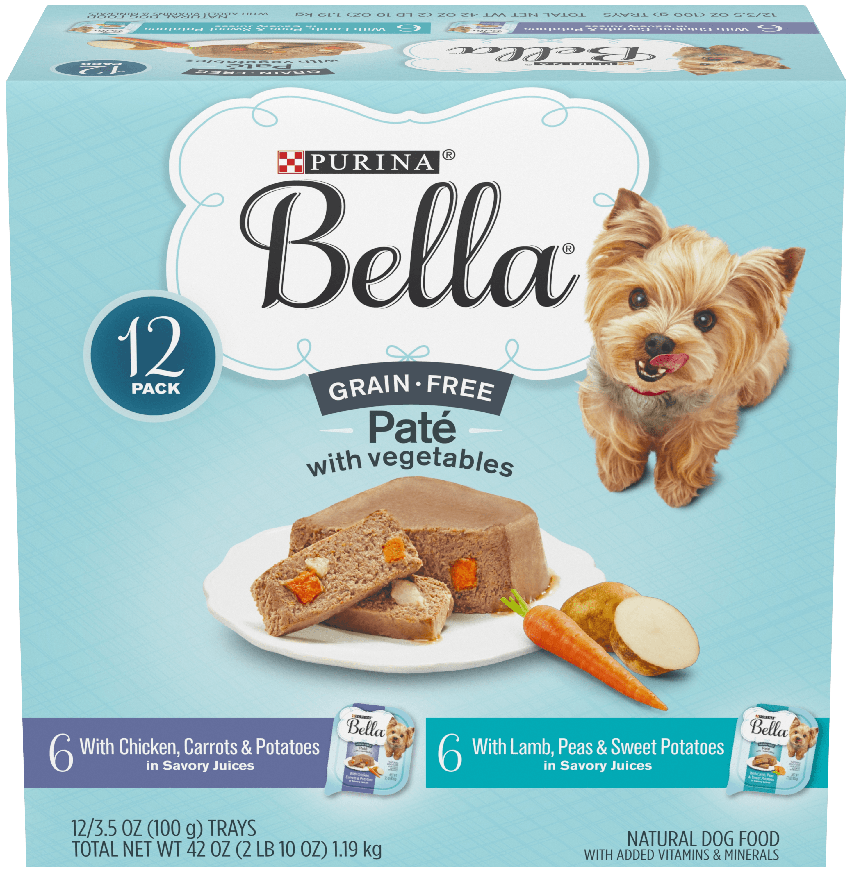 Purina Bella Grain Free, Natural Pate Wet Dog Food; With Chicken & Lamb Variety Pack - (12) 3.5 oz. Trays