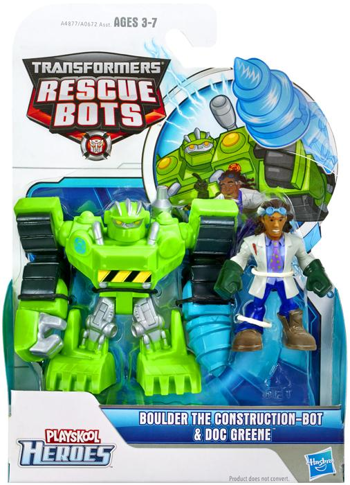 Transformers Playskool Heroes Boulder the Construction-Bot & Doc Greene Action Figure 2-Pack by