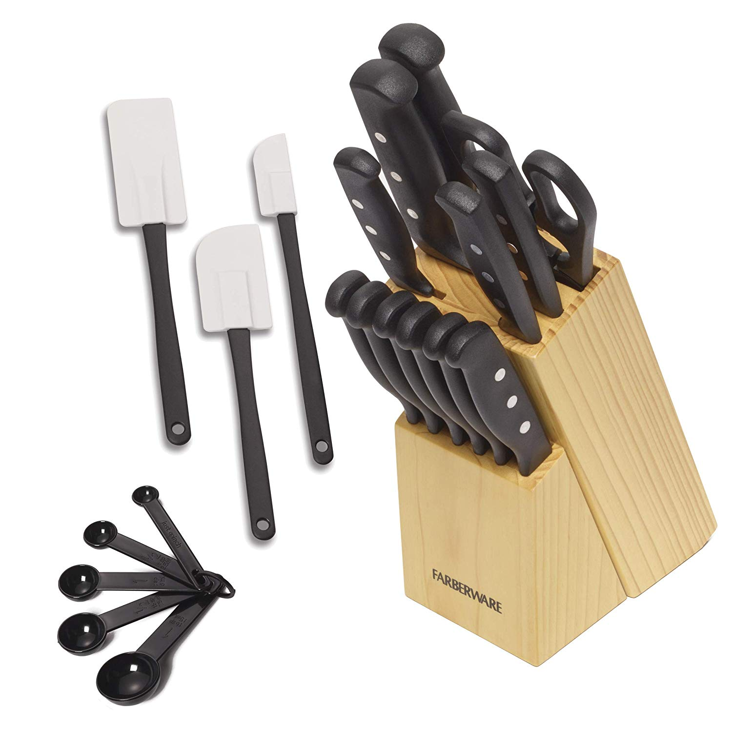 5152501 'Never Needs Sharpening' 22-Piece Triple Rivet Stainless Steel Knife Block Set with Kitchen Tool Set For Back to School College, Black, PERFECT SET FOR BACK.., By Farberware
