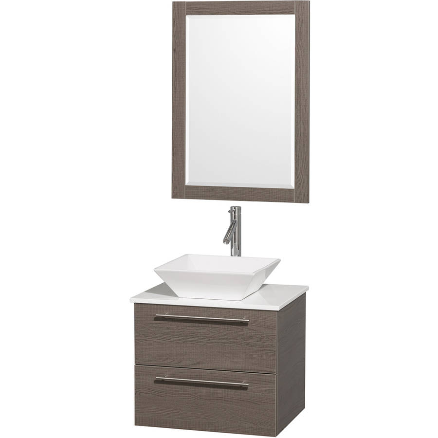 Wyndham Collection Amare 24 inch Single Bathroom Vanity in Gray Oak with White Man-Made Stone Top with White Porcelain Sink, and 24 inch Mirror