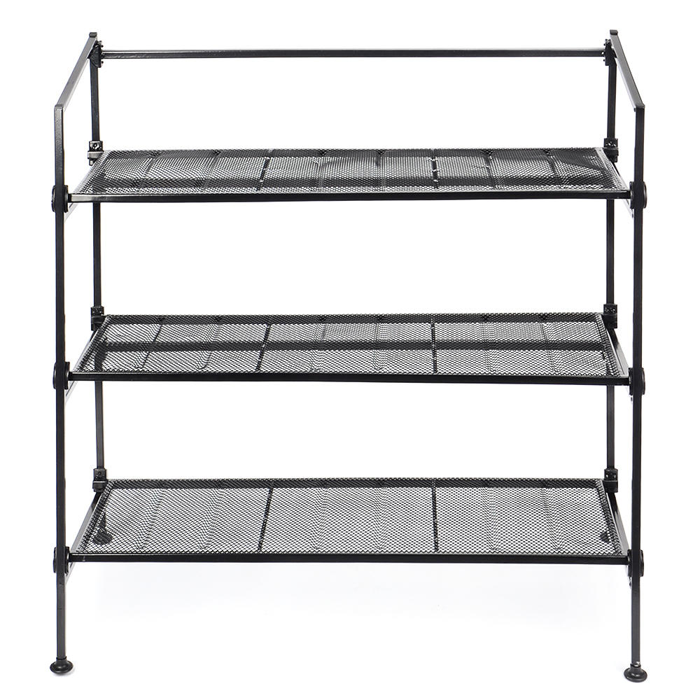 Shoe Storage Footstool Bench Rack Iron Mesh Utility Boot Organizer Entryway Black 3-Tier - SortWise™ - image 4 de 5