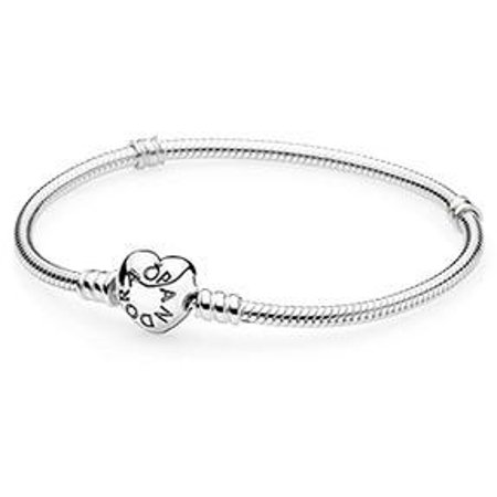 Bridal Clasp Bracelet - Pandora Moments Silver Bracelet with Heart Clasp 21CM - 590719-21