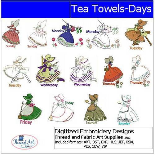 ThreadArt Machine Embroidery Designs Tea Towels Days(1) CD