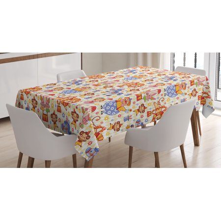 Kids Tablecloth, Carnival Circus Theme with Cheerful Mascots Monkey Lion Bunny Acrobat Girl and Clown, Rectangular Table Cover for Dining Room Kitchen, 52 X 70 Inches, Multicolor, by Ambesonne