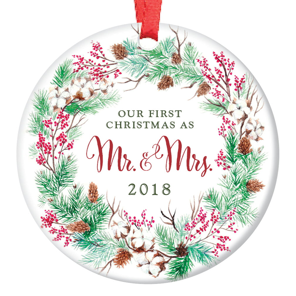 """Our First Christmas as Mr & Mrs Ornament 2018, Wreath 1st Married Christmas Ornament First Married Christmas, 3"""" Flat Circle Porcelain Ornament Glossy Glaze ..."""