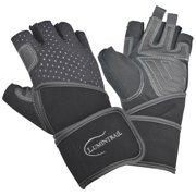 Lumintrail Leather Padded Anti-Slip Weight Lifting Gloves with Wrist Wrap Support for Gym Workouts Bodybuilding Cross Training Mens Womens Breathable Washable